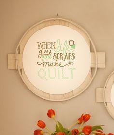 Make a Quilt Art Print - letterpress printed, framed in authentic white-washed bushel or peck lid