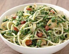 Spaghetti_met_spinazie_pastasaus_en_spekjes - Life & Cooking