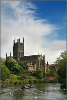 Worcester Catherdral & the River Severn at Worcester, UK the cathedral dates from 1084