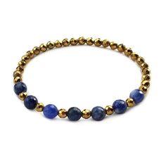 Third Eye chakra, Hematite and Sodalite chakra bracelet . #chakra