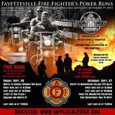 Fayetteville Firefighters' Poker Runs at Bikes Blues BBQ- Going on Now until Sunday/Sept. 27th -------------- **INFO on Bikes Blues and BBQ at www.lightningcustoms.com/bikesbluesandbbq.html ------------ #bikesbluesbbq #bikesbluesandbbq
