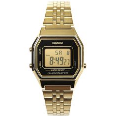 Casio La680wga-1d Watch (90 AUD) ❤ liked on Polyvore featuring jewelry, watches, accessories, black, digital watches, womens watches, stainless steel wrist watch, retro digital watch, water resistant watches and casio watches