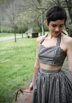 Black & White Gingham Picnic Playsuit  by QsDaydream on Etsy,