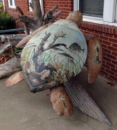 "Tybee Island, Georgia - Tybee Turtle Tour 2005 - ""Turtle Vision"" - 24 fiberglass sea turtle statues, 5 feet long"