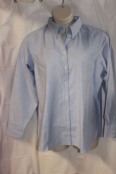 15573b67c1995 LANDS  END Womens 18W BLUE BUTTON Front Career Long Sleeve BLOUSE NEW