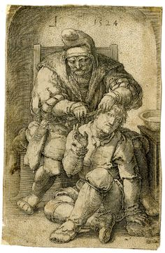 Print made by Lucas van Leyden   1524 - The Surgeon; a man seated between the knees of a surgeon who uses a knife to perform an operation behind the man's right ear; the man raises his right hand and grimaces; the surgeon, seated in a chair wearing a fur-lined robe, looks down at his patient. 1524