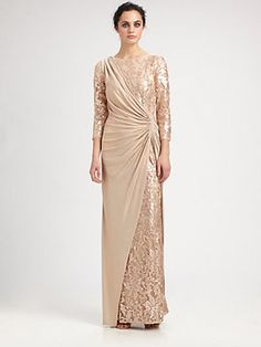 Tadashi Shoji Sequined Drape Gown