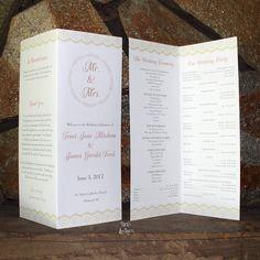 folded wedding program lace, coral, blush