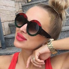 POLYREAL 2018 New Round Sunglasses Luxury Women Brand Designer Fashion Sexy Sun Glasses For Female Party Shades Price history. Product ID: Big Sunglasses, Luxury Sunglasses, Sunglasses Women, Sunnies, Fashion Brand, Luxury Fashion, Paris Fashion, Mens Glasses, Women Brands