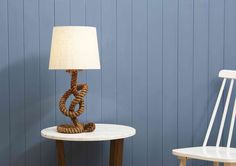 Scandinavian degisn tip: incorporate mixed textures into your decor for the Scandi Seaside look. Cool Tables, Nautical Theme, Optical Illusions, Knots, Table Lamp, Shapes, Seaside, Interior, Scandinavian