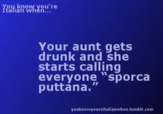 """You know you're Italian when ... your aunt gets drunk and calls everyone """"sporca puttana""""  ha!!"""