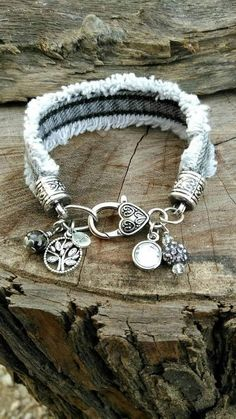 Your place to buy and sell all things handmade Frayed+Denim+Bracelet+with+Tree+of+Life+Family+and+Purple Denim Bracelet, Denim Earrings, Fabric Bracelets, Fabric Jewelry, Handmade Bracelets, Boho Jewelry, Jewelry Crafts, Jewelry Art, Jewelery
