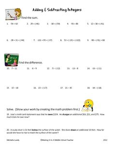 This middle grades math freebie includes 9 adding integers problems, 9 subtracting integers problems, and 2 integer word problems.  Total of 20 pro...