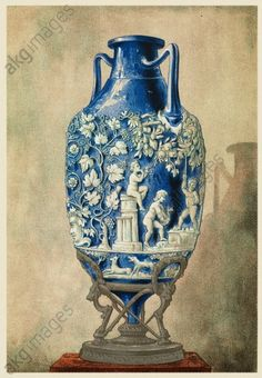 Roman funerary urn from Pompeii. 19th-century chromolithograph of a funerary urn in blue glass, found at Pompeii. This urn is used to store the ashes of a dead body following its cremation. The Roman city of Pompeii, located in the Bay of Naples, Italy, was ruined and buried under thick layers of ash during an eruption of the volcano Vesuvius in 79 AD. The city was rediscovered and excavated in the 18th and 19th centuries, and today it is a tourist destination visited by millions every year.