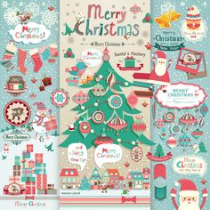 How many Santas can you see?    Click image to enlarge.    #Christmas #Xmas #Card