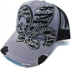 Womens Black & Grey Rhinestone Zebra Fleur de Lis Trucker Cap