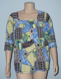 CJ Banks 2x Blue & Green Geometric/Floral 3/4 Sleeve Square Neckline Blouse Top #CJBanks #Blouse #Casual
