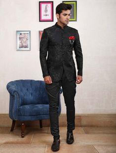 Black designer partywear jodhpuri suit Indian Wedding Suits Men, Wedding Dress Men, Tuxedo Coat, Buy Suits, Mens Suits, Suit Men, Blazers For Men, Suit Jacket, Sherwani