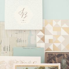 mint and gold color palette.