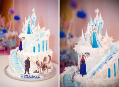 Spa Party Ideas with a Frozen Twist - Pretty My Party #frozen #cake #ideas
