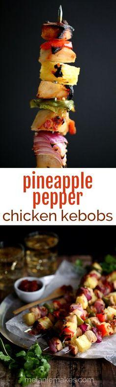 pineapple pepper chicken kebabs // melanie makes.