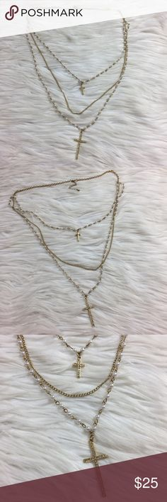 •• Aldo Multi-Strand • Cross Rosary Necklace Beautiful multi-strand necklace by Aldo! It's in excellent condition overall and has only been worn a handful of times. Can be dressed up or down depending on the occasion. Colors allow it to go with almost anything. (LLR0-0389) Aldo Jewelry Necklaces