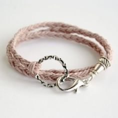 Braided hemp makes for an earthy warm-weather wrap bracelet!  Could also do with leather.