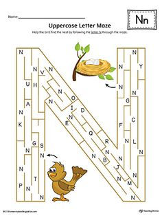 Uppercase Letter N Maze Worksheet (Color) Worksheet.If you are looking for creative ways to help your preschooler or kindergartener to practice identifying the letters of the alphabet, the Uppercase Letter Maze in Color is the perfect activity. Letter N Crafts, Letter N Activities, Preschool Letters, Learning Letters, Learning Objectives, Learning Activities, Letter N Worksheet, Maze Worksheet, Alphabet Worksheets