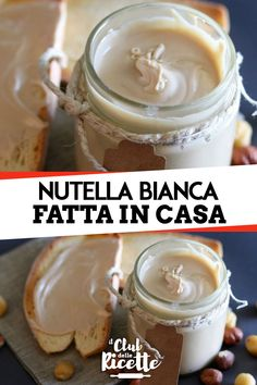 Nutella Bianca or Crema di Nocciole Bianca is a delicious spreadable cream made with white chocolate and hazelnuts, ideal for filling cakes, preparing creams or … to be eaten by spoonfuls! Bakery Recipes, Dessert Recipes, Cooking Recipes, Mousse Au Chocolat Torte, Something Sweet, International Recipes, Smoothie Recipes, Love Food, Italian Recipes