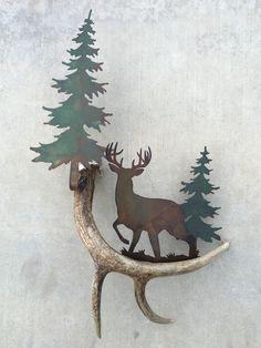 Deer Waiting in the Pines, Authentic Antler & Metal Wall Art Antler Art, Custom Knives, Blacksmithing, Antlers, Metal Wall Art, Barn Wood, Deer, Pine, Moose Art
