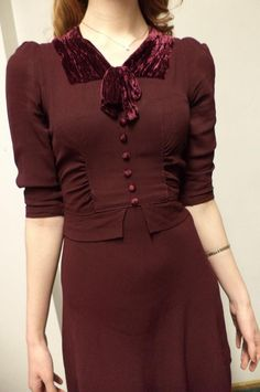 delectable 1930's deep red rayon swing dress with silk velvet at the neckline from Flashback Clothing Collective