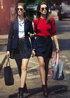 (L) Polka dot skirt, blue button-up, navy blazer, ankle booties. (R) Navy skirt, red sweater, ankle booties.