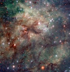 Hubble has taken this stunning close-up shot of part of the Tarantula Nebula. This star-forming region of ionised hydrogen gas is in the Large Magellanic Cloud, a small galaxy which neighbours the Milky Way. It is home to many extreme conditions including supernova remnants and the heaviest star ever found. The Tarantula Nebula is the most luminous nebula of its type in the local Universe.
