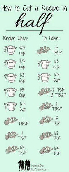 24. Learn how to divide any recipe in half.