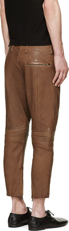 Haider Ackermann Brown Ribbed Cropped Leather Trousers