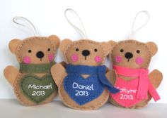 Personalized Bear Ornament / Felt Bear Ornament / by Whimzy Hollow