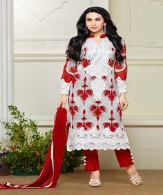 Rs 1350.00 Only  Top Colour: OFF WHITE  Bottom Colour: RED  Dupatta Colour: RED  Top Fabric: GEORGETTE  Bottom Fabric: Santoon  Dupatta Fabric: Nazneen  Inner Fabric: Santoon