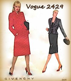 Sewing Pattern Vintage 1980s Givenchy Vogue by mmmsvintagepatterns