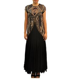 Black & Mustard Georgette Hand Embroidered & Printed Dress #kurtas #anarkalis #georgette #ethnicwear