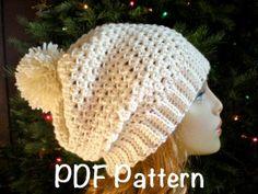 PATTERN Snow Bunny Hat easy crochet slouch beanie