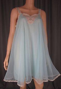 Vintage Turquoise Sheer Chiffon Overlay Babydoll Nightie Nightgown Ecru Lace