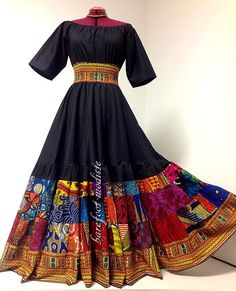 Alissa Long Bold African Patchwork Dress by BarefootModiste