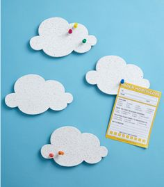 Modcloth Cloud Pin Boards via The Dainty Squid. Could be a good project for making at home?