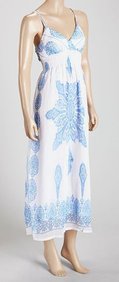 Blue & White Abstract Sleeveless Dress, need to find a pattern like this.