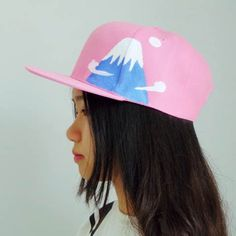 4ec5878a699 Hand painted Snow Mountain snapback cap for girls creative pink baseball  caps