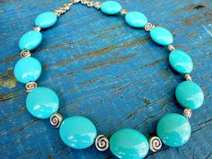 Aqua green beaded necklace by EyeKandyJewellery on Etsy, $25.00
