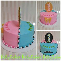 Boy and Girl twin Little Man and Princess in pink dual sided 1st birthday cake.