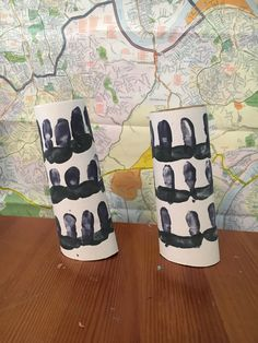 Leaning Tower of Pisa from toilet paper rolls and finger prints