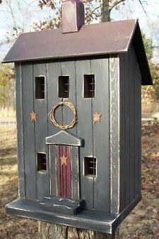 Folk Art Bird Houses | Vintage Folk Art Worn Black Saltbox Primitive Birdhouse Cabin Lighted ...