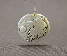 Wolf and Moon Pendant in Sterling Silver - Wolf Jewelry, Animal Jewelry